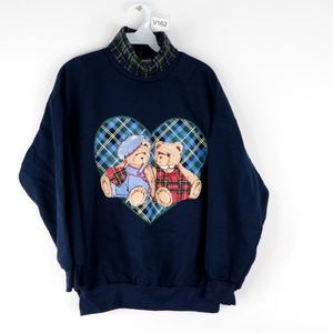 NOS Vintage 90s Plaid Turtleneck Sweatshirt Blue